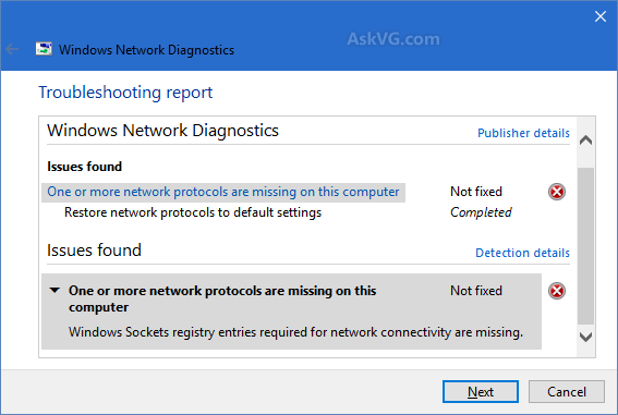 Network Protocol missing